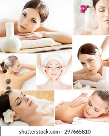 Traditional spa concept. Wellness, massage and skin care collage.