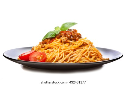 Traditional spaghetti bolognese isolated on white background