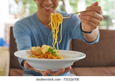 traditional spaghetti with tomato sauce on dish,original Italian food