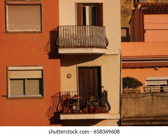 Traditional Spanish architecture in these apartment balconies in Barcelona