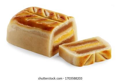traditional spanish cadiz bread christmas sweet made of egg yolk, isolated