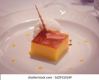 Traditional Spanish dessert called Tocino de cielo