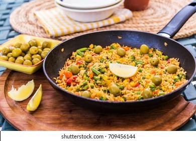 Traditional spanish rice dish - vegetable paella
