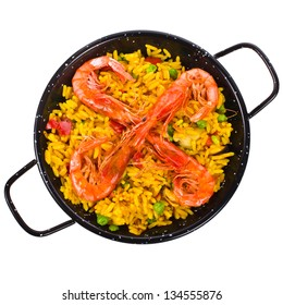 traditional spanish  rice - paella isolated on white background