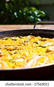traditional spanish rice - paella with sea food