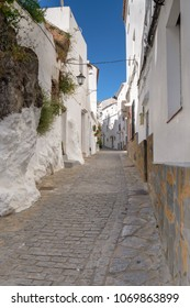 Traditional Spanish street in a small mountain village.
