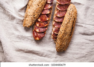 Traditional spanish tapas lomo rye bread baguette sandwiches