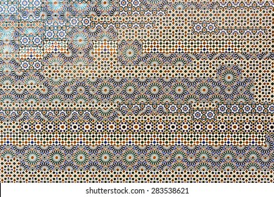 Traditional spanish tiles on the wall in Toledo, Spain
