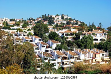 Traditional Spanish villas and houses on the hillside, Benalmadena Pueblo, Costa del Sol, Andalusia, Spain, Europe.