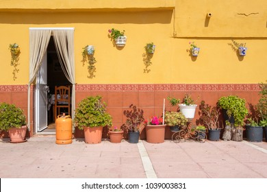 Traditional Spanish wall with lots of flower pots.