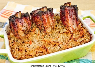 Traditional spare ribs baked in sauerkraut