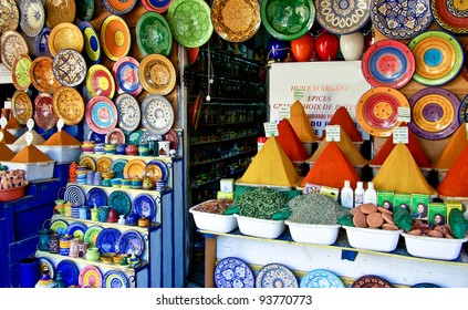 Traditional spice market in Essaouira / Morocco