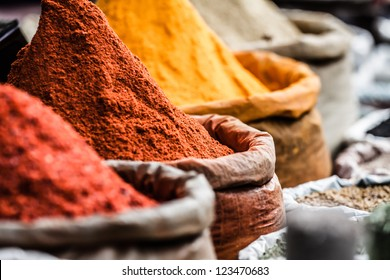 Traditional spices market in India. ( HDR image )