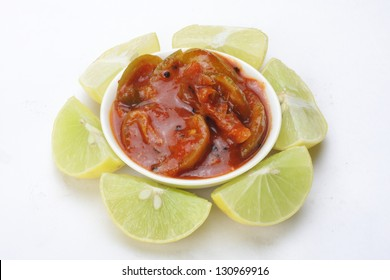 traditional Spicy lime pickle served in bowl.