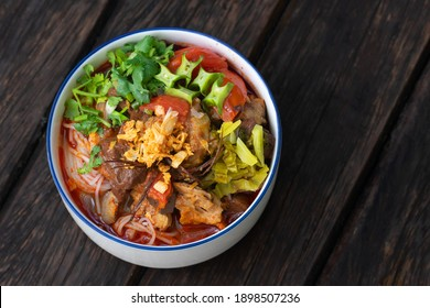 Traditional spicy rice noodle soup name of food is Nam Ngiao Rice Noodle or Khanom Jin Nam Ngiao Thai food