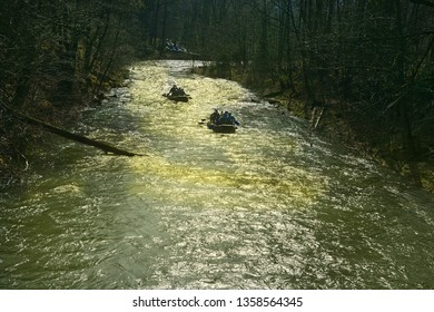 Traditional spring cruise on the river Ostravice near the village of Ostravice, mountains Beskydy, Moravia, Czech Republic