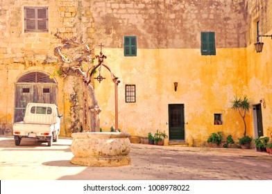 Traditional square in the ancient town of Mdina on Malta