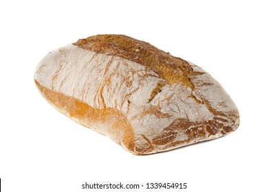 A traditional  square loaf of bread is isolated on a white background. bread isolated on a white background. square loaf of bread with two pieces cut off on a white background.
