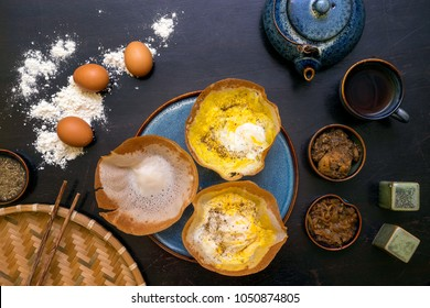 Traditional Sri Lankan breakfast with egg hoppers.