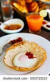 Traditional Sri Lankan breakfast with egg hoppers
