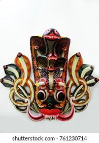 Traditional Sri Lankan mask.Sri Lankan traditional art work.Dramatic mask in Asian culture. Devil dance marks.Wooden mask for dramatic.