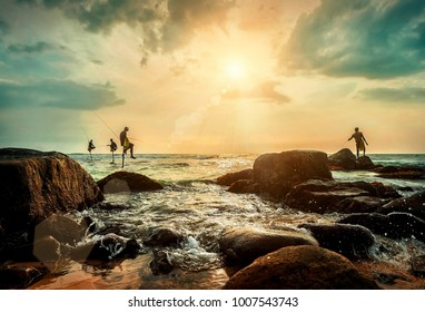 Traditional Sri Lankian sea fishermans at work under sunset sunlight. Most popular cultural icon for travellers on the ocean beaches in Sri Lanka.