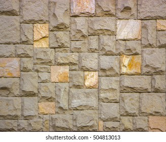 Traditional Stone Brick Wall made of fragment stones in irregular shapes
