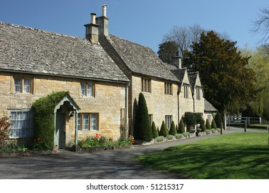 Traditional stone cottages in the Cotswolds village of Lower Slaughter