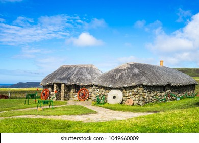 Traditional stone farmhouse at  Skye Museum of Island Life, Isle of Skye, Scotland, Britain