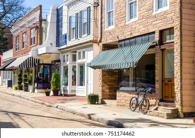 Traditional Stores along a Cobblestone Street in Downtown Annapolis, MD