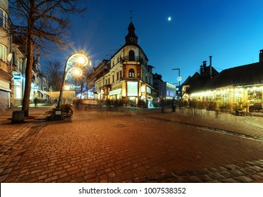 Traditional street buildings in Zakopane, Poland at Christmas time.