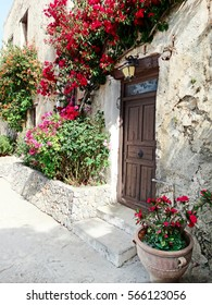 traditional street and door architecture detail in Greece