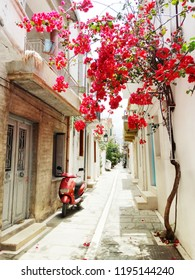 traditional street and houses architecture detail in Greece