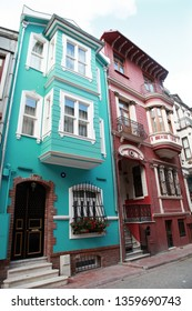 Traditional street and houses at Balat District in Istanbul, Turkey.