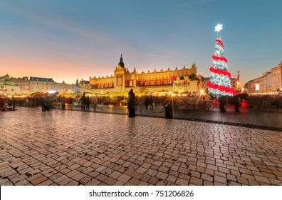 Traditional street market in Main Market Square in Krakow, Poland at Christmas.