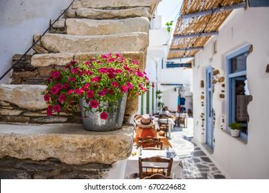 Traditional street on Naxos, Greece