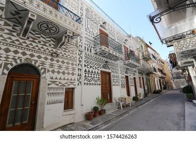 Traditional Street in Pyrgi Village, Chios Island, Greece