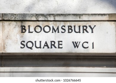 Traditional street sign of Bloomsbury Square in central London, UK.