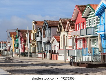 Traditional street with striped houses, Costa Nova, Aveiro, Portugal