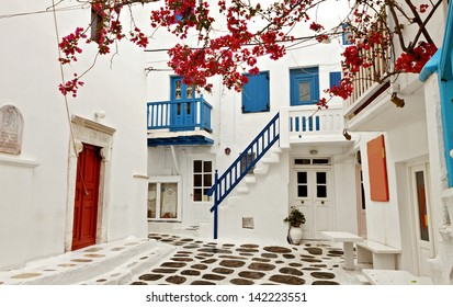 Traditional streets and houses at Mykonos island in Greece