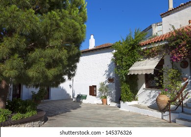 Traditional streets and houses at Skiathos island in Greece. Specific house used to belong to Papadiamantis famous Greek writer.