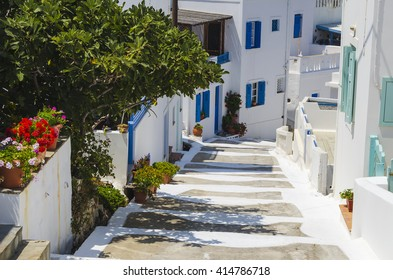 Traditional streets in the island of Astypalaia Greece