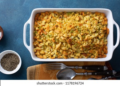 Traditional stuffing side dish for Thanksgiving or Christmas in a baking pan