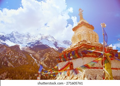 Traditional stupa in  Nepal.  Trek around Annapurna mount