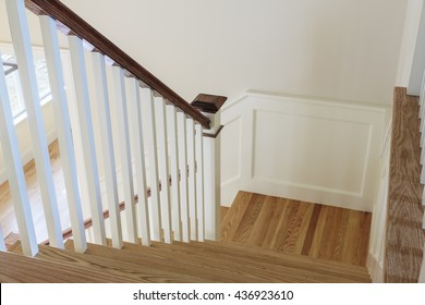 Traditional style stairway in newly constructed home.