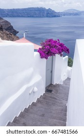 Traditional style stairway of Oia, Santorini, Greece