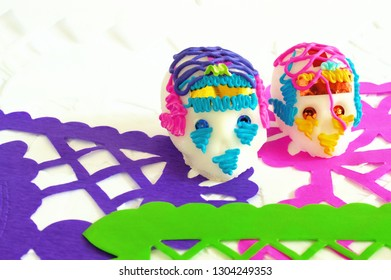 Traditional sugar skull on perforated paper of Day of the dead, ideal for your tradition and religion projects.