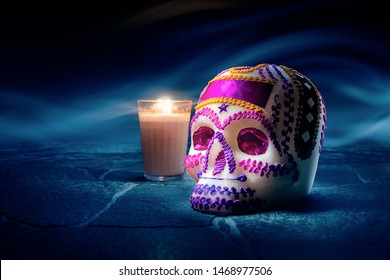 """Traditional sugar skull used at mexican offerings or """"ofrendas"""" for Day of the Dead celebration. high contrast image"""
