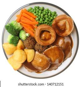 Traditional Sunday roast pork dinner.