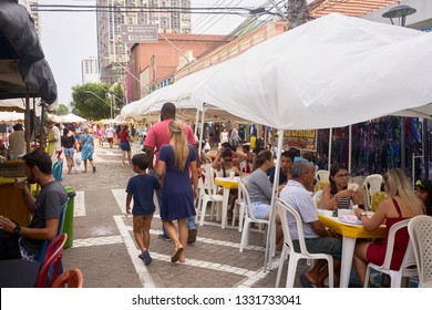 "Traditional Sunday Tour. Famous Market Place of Amazon Rainforest Brazilian Capital. Where To Drink a Brazilian ""Cafézinho"" or ""Açaí"" and Eat Manioc Unique Dishes. Manaus, Amazonas, Brazil, 2019."